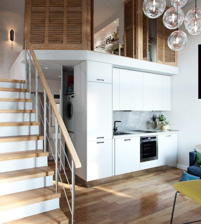 طراحی آشپزخانه آپارتمان دوبلکس کوچک